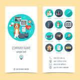 Promotional products for vet clinic. Flyer, brochure. Pet care.  Flat design. Vector Stock Photo