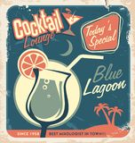 Promotional retro poster design for cocktail bar Royalty Free Stock Images