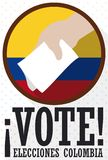 National Round Button with Hand Voting for Colombian Elections, Vector Illustration Stock Images