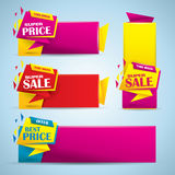 Promotional sale banner set in vibrant colors Stock Images