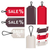 Promotional sale tags and ribbons isolated on white Stock Photos