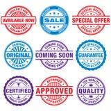 Promotional sales Design elements. A comprehensive set of Design stamps vector illustrations stock illustration