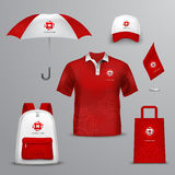 Promotional souvenirs  for company. In red and white colors design icons set with elements of clothing and accessories  vector illustration Royalty Free Stock Photography