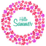 Promotional summer banner with pink flowers on white background. Text HELLO SUMMER. Round or ring shape. Stock Photos