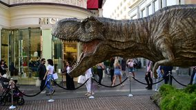 Promotional T-rex for the upcoming film Jurassic World: Fallen Kingdom. Los Angeles, CA: May 6, 2018: Promotional T-rex for the upcoming film Jurassic World stock footage