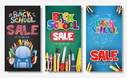 Promotional Vertical Poster and Banner Set with Creative Styles of Back to School Sale Text Titles. In Different Colored Backgrounds for Marketing Purposes vector illustration