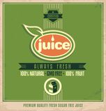 Promotional vintage printing material for organic juice. Promotional vintage printing material for healthy food product. Retro juice poster design on old paper stock illustration