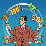 Promotions discounts sale businessman juggling Royalty Free Stock Photography