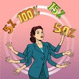 Promotions discounts sale businesswoman juggling Stock Photos