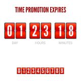 Promotions expires, analog flip clock timer. Template of flip countdown timer, clock counter. Red countdown clock Royalty Free Stock Photos