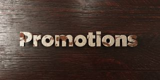 Promotions - grungy wooden headline on Maple  - 3D rendered royalty free stock image Royalty Free Stock Photos