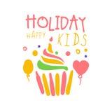 Promozeichen Kinder des Feiertags glückliches Gezeichnete Illustration Vektor der Kinderparty bunte Hand Lizenzfreie Stockfotografie
