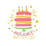 Promozeichen Kinder des Feiertags glückliches Gezeichnete Illustration Vektor der Kinderparty bunte Hand Stockfoto