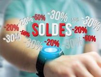 Promozione delle vendite 20% 30% e 50% che sorvola un'interfaccia - Shopp illustrazione vettoriale