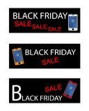 Promozione di acquisto di Black Friday con lo Smart Phone Fotografie Stock