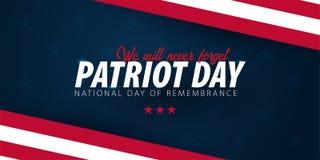 Promozione di giorno del patriota, pubblicità, manifesto, insegna, modello con la bandiera americana Carta da parati americana di illustrazione di stock