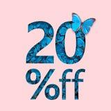 promozione di vendita a ribasso di 20% Il concetto del manifesto alla moda, insegna, annunci Fotografie Stock