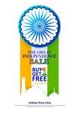 Promozione e pubblicità di vendita per quindicesimo August Happy Independence Day dell'India Immagini Stock Libere da Diritti