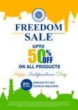 Promozione e pubblicità di vendita per quindicesimo August Happy Independence Day dell'India illustrazione di stock