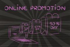 Promozione online (illustrazione delle borse che escono da un computer portatile) Immagine Stock