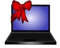 Promozioni rosse del regalo dell'arco del computer portatile Fotografia Stock Libera da Diritti