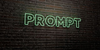 PROMPT -Realistic Neon Sign on Brick Wall background - 3D rendered royalty free stock image. Can be used for online banner ads and direct mailers vector illustration
