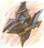 Mechanical shuttle draw by hand. Prompt space sailing vessel rushes through space royalty free illustration