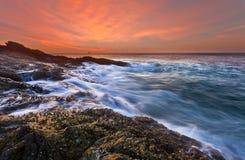 Promthep海角日落,南普吉岛,泰国 库存图片
