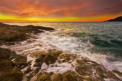 Promthep海角日落,南普吉岛,泰国 免版税库存照片