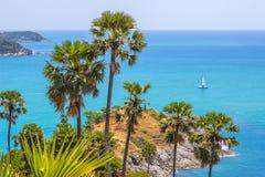 Promthep海角观点普吉岛泰国 库存照片