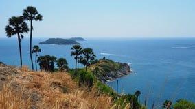 Promthep海角,普吉岛,泰国看法  免版税图库摄影