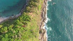 Promthep Cape. Amazing Phuket island natural landscape aerial view. Thailand. 4K. stock footage
