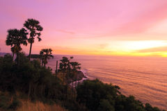 Promthep Cape. Is one of the attractions of Phuket. Beautiful scenery. And the sunset was popular. The lighthouse was the site of Kanchana Rd. End of Laem Phrom Stock Photography