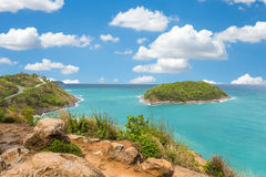 Promthep cape viewpoint at blue sky in Phuket,Thailand Royalty Free Stock Photography
