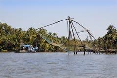 promu połowu ind Kerala zarabiają netto wody Zdjęcia Royalty Free