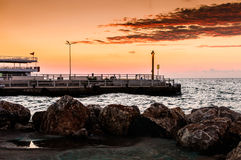 Promu port W zmierzchu Zdjęcie Stock