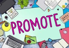 Promueva el concepto comercial de la promoción del plan de márketing Imágenes de archivo libres de regalías