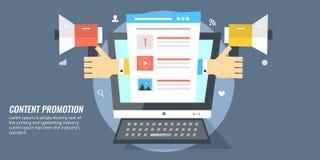 Promuova il contenuto via i media sociali Concetto di dati, di blogging e della pubblicazione royalty illustrazione gratis