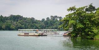 Promy dokuje na jeziorze w Singapur Obraz Royalty Free