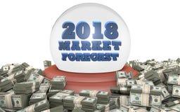 Pronóstico y predicciones del mercado de acción 2018 Fotografía de archivo