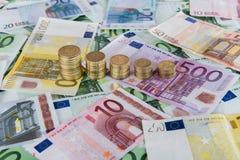 Pronósticos euro descendentes Imagen de archivo libre de regalías