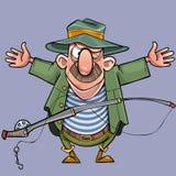 Pronkt de beeldverhaal mannelijke visser met een hengel met een vangst stock illustratie