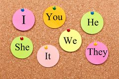 Pronouns in the English language. On bulletin board stock photography