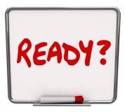 Prontidão preparada Preparati da pergunta do Erase da palavra placa seca pronta Fotografia de Stock