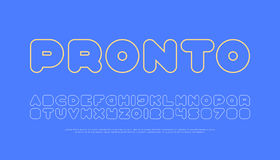 Pronto. Contemporary, thin line style alphabet letters and numbers. vector, font type design. round outline, regular lettering. stylish, linear typesetting Stock Photos