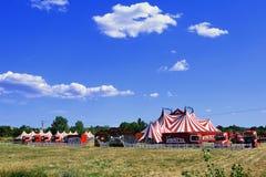 Pronto installato della tenda di circo per la rappresentazione Fotografie Stock Libere da Diritti