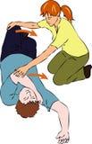 Pronto soccorso - uomo incosciente di ruzzolamento Fotografia Stock Libera da Diritti