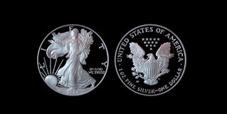 Proof American Silver Eagle with clipping path. American Silver Eagle proof coin against black with clipping path Stock Images