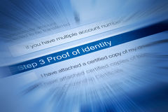 Identity Security Theft Document. A form requiring proof of identity Royalty Free Stock Image