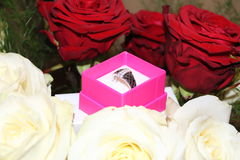 A proof of love in flower and ring Royalty Free Stock Photo